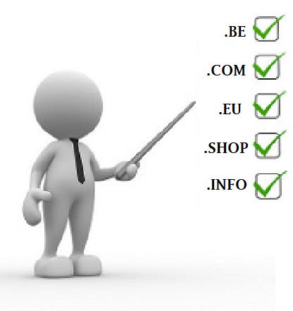 Verschillende soorten domeinnaamextenties .COM .BE .EU